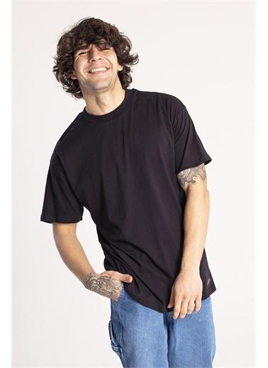 XHAN Yavruağzı Yakası Kalın Ribanalı Oversize T-Shirt 1Kxe1-44667-21 Siyah